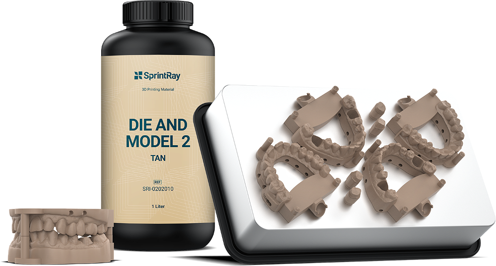 Image of SprintRay die & model 2 tan 3D printing resin for dental models